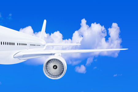 Plane wing - on sky background photo