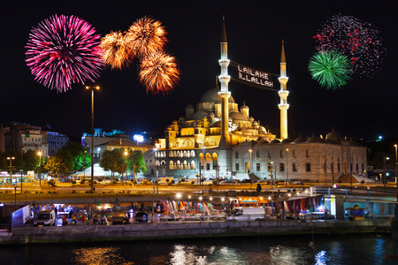 istanbul night: Fireworks in Istanbul Turkey - holiday background Editorial