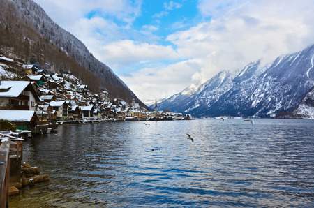 Village Hallstatt on the lake Hallstatter at winter - Salzburg Austria photo
