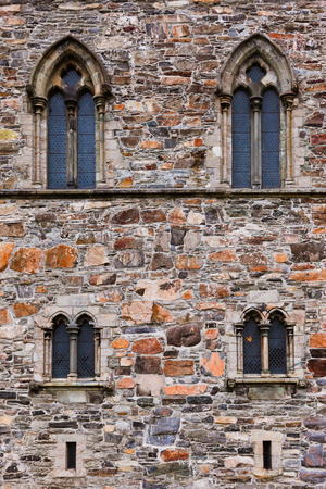Windows in fortress wall - Bergen Norway - architecture background