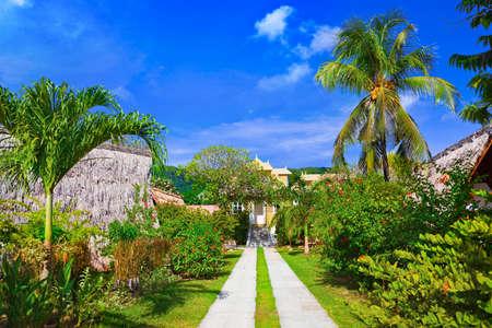 Villa at tropical beach - vacation background Editorial