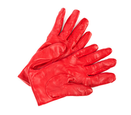 furskin: Red gloves isolated on white background