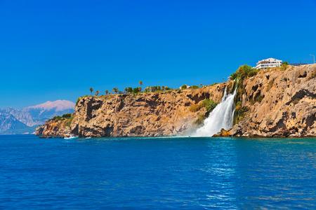 waterfall in the city: Waterfall Duden at Antalya Turkey - nature travel background