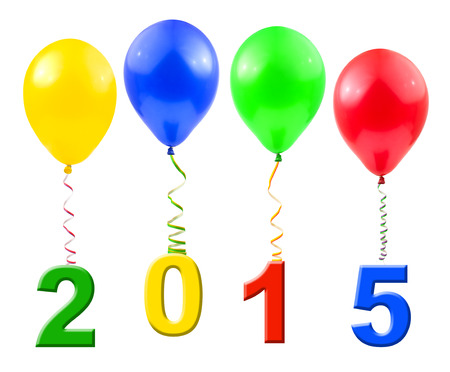 air bladder: Balloons and 2015 isolated on white background Stock Photo
