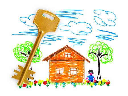 felt tip pen: Drawing house and key isolated on white background