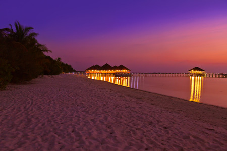 palapa: Water cafe at sunset - Maldives vacation background