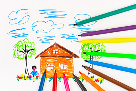 home school: Childs drawing and pens - abstract art background