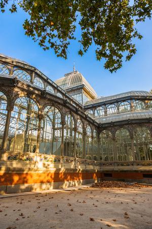 palacio: Crystal Palace at Retiro park - Madrid Spain Editorial