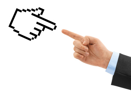 Computer cursor and hand isolated on white background photo
