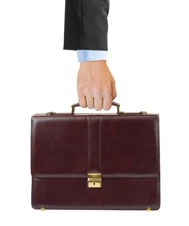 business case: Business case in hand isolated on white background Stock Photo