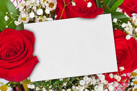 Roses bouquet and paper card - floral background photo