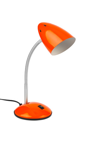 Red desk lamp isolated on white background photo