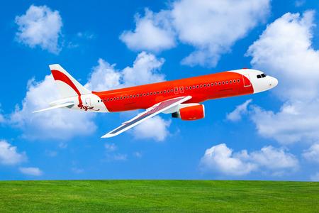 Model of plane - on sky background photo