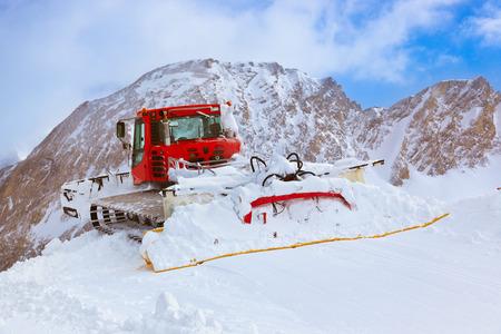 kaprun: Machine for skiing slope preparations at Kaprun Austria - technology and sport background Stock Photo