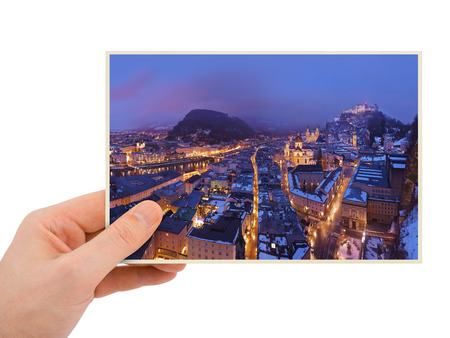 Salzburg Austria photography in hand (my photo) isolated on white background photo