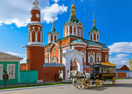 omnibus: KOLOMNA, RUSSIA - MAY 03, 2014: Horse-drawn carriages (omnibus) in Kolomna Kremlin - Russia - Moscow region.