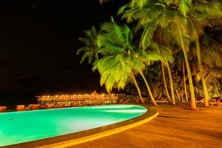 maldives island: Pool on tropical Maldives island - nature travel background Editorial