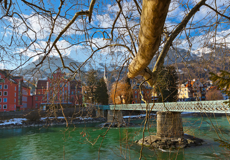 christmas village: Innsbruck Austria - architecture and nature background Stock Photo