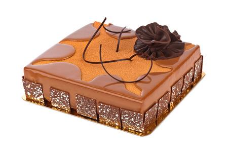 chocolaty: Big chocolate cake isolated on white background Stock Photo