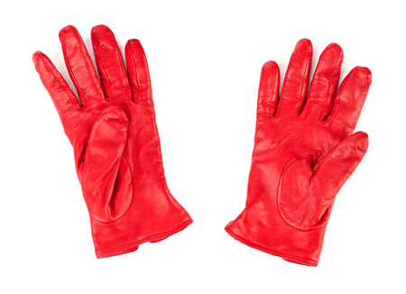 leather glove: Red gloves isolated on white background