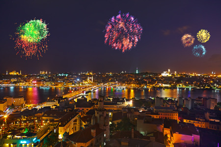 istanbul: Fireworks in Istanbul Turkey - holiday background Stock Photo