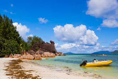 shallop: Tropical island Curieuse at Seychelles - nature background