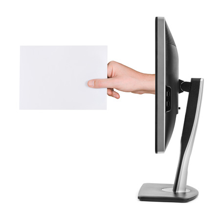email us: Hand with blank card and computer monitor isolated on white background