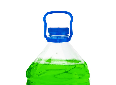 antifreeze: Bottle with green liquid isolated on white background