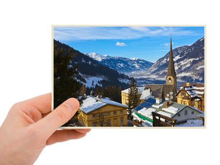 Mountains ski resort Bad Gastein Austria photography in hand (my photo) isolated on white background photo