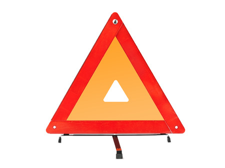 Warning car sign - red triangle isolated on a white background photo