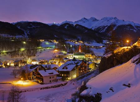 Mountains ski resort Solden Austria - nature and architecture background photo