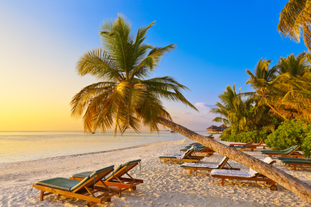lounger: Chairs on Maldives beach - nature vacation background Stock Photo
