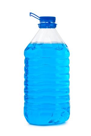 big window: Bottle with non-freezing cleaning liquid isolated on white background