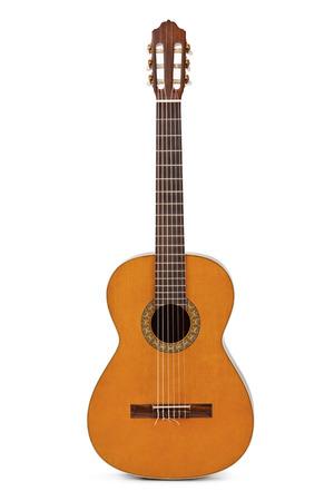 gitara: Akustyczna gitara klasyczna samodzielnie na białym tle