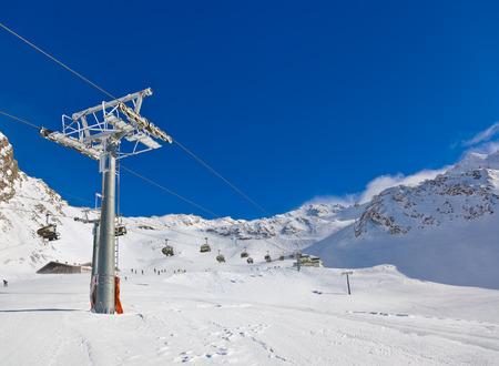 sun blue sky: Mountain ski resort Hochgurgl Austria - nature and sport background