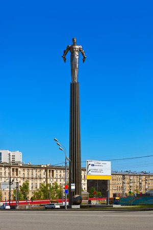 vostok: Yuri Gagarin monument on Gagarin Square - in Moscow Russia