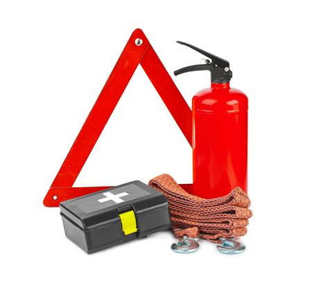 bombero de rojo: Set coche de seguridad aisladas sobre fondo blanco Foto de archivo