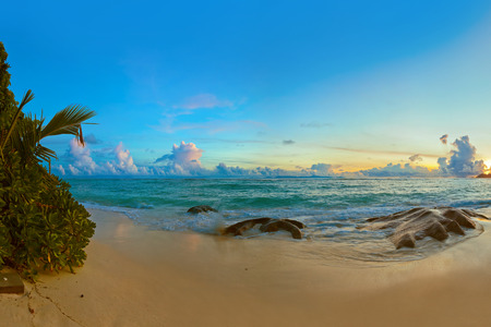 d'argent: Sunset on tropical beach Source DArgent at Seychelles - nature background Stock Photo