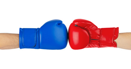 boxing match: Boxing gloves isolated on white background