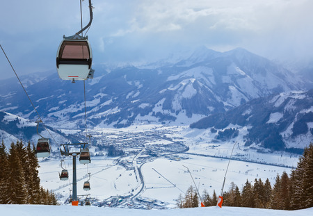 ski track: Mountains ski resort Zell am See Austria - nature and sport background