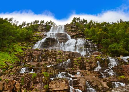 scandinavian landscape: Tvinde fossen Waterfall - Voss Norway - nature and travel background