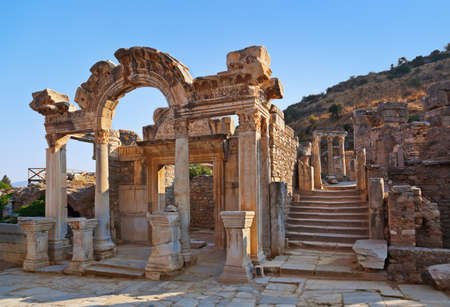 the architecture is ancient: Ancient ruins in Ephesus Turkey - archeology background