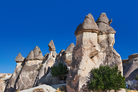 strange mountain: Rock formations in Cappadocia Turkey - nature background Stock Photo