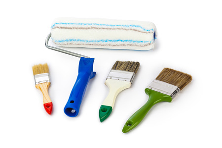 roller brush: Group of paint brushes isolated on white background