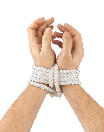 restraining: Bound hands isolated on white background