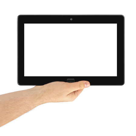 Hand with touchpad pc isolated on white background photo