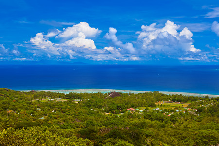 vue: Island La Digue at Seychelles - nature background Stock Photo