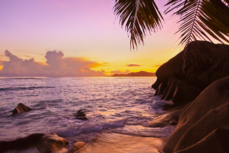 argent: Sunset on tropical beach Source DArgent at Seychelles - nature background Stock Photo