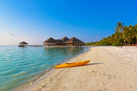 palapa: Boat on Maldives beach - nature vacation background