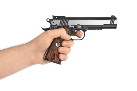 hand gun: Hand with pistol isolated on white background